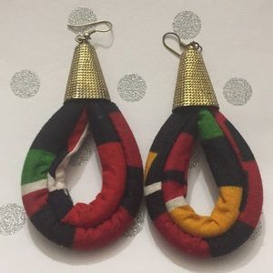 African Ankara Fabric Drop Earrings